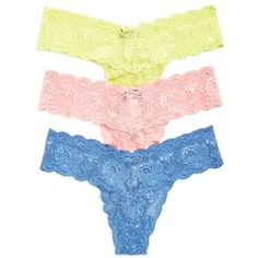 Cosabella 'Never Say Never Cutie' Thong (245 BRL) ❤ liked on Polyvore featuring intimates, panties, low rise thong, cosabella thong, lace thong, lacy thong and cosabella