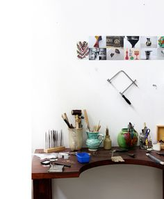 The studio of jeweller Peta Kruger at the JamFactory. Via one of my favorite sites The Design Files.