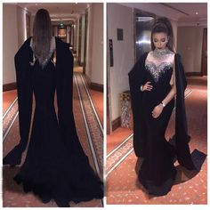 High Neck Crystals Sexy Black Mermaid Prom dress Arabic See Through Evening Gown