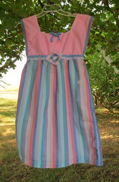 Handmade Girl's Dress Jumper Size 12 - 14 Pink Blue Stripes Very Cute. $20.00, via Etsy.