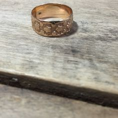 Antique 14K yellow gold band star pattern by VictoriaVVintage on Etsy