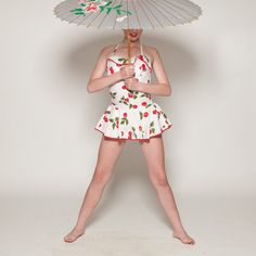 Vintage 1950s Cherry Swimsuit Pin Up Maillot One by AlexSandras, $495.00
