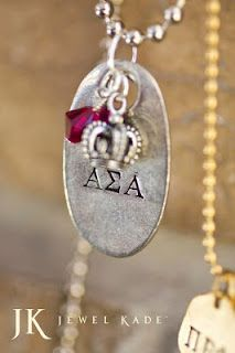 Pledge your loyalty with Jewel Kade's hand-stamped pewter tags!  24 Sororities to choose from.    #Alpha #Chi #Omega #Delta #Pi #Epilson #Phi #Gamma #Omicron #Sigma #Xi #Zeta #Beta #Kappa #Theta #Mu #Tau #greek #letters #sorority