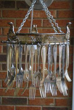 Vintage silver forks wind chime