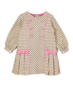Another great find on #zulily! Beige & Pink Pleated Dress - Infant &…