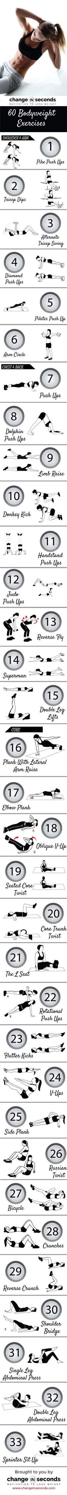 Workout at home with no equipment for women with bodyweight exercises! Infographics with details on how to do 60 different workouts! #fitnessworkouts, #fitness, #womenfitness, #workoutplan, #exercise, #exercises, #workout #womenworkoutplan,