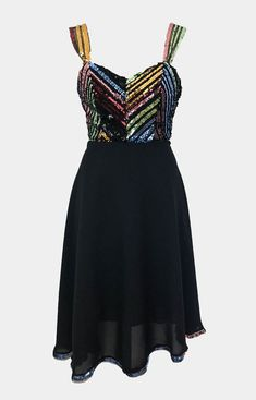 Beautiful Sequin Chevron Dress handmade in Edinburgh by ethical Scottish designer Rowanjoy. Perfect for standing out at the party! With multi-coloured sequin bust and mid length black skirt complete with sequin rim! Shop party dresses online now! Party Dresses Online, Chevron Dress, Boutique Dresses, Ethical Fashion, Mid Length, Edinburgh, Sequins, Skirts, Handmade
