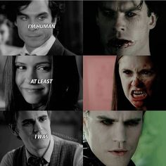 "#TVD The Vampire Diaries Damon,Elena & Stefan ""I'm human, at least' I was.."""