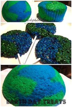 Earth Day cupcakes and Earth Day Rice Krispie Treat pops! Teach your kids about Earth Day with these fun globe-themed crafts and snacks. via @Matty Chuah Crafty Crow #EarthDay #Green #Activities