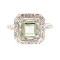 Step Cut Green Amethyst Ring