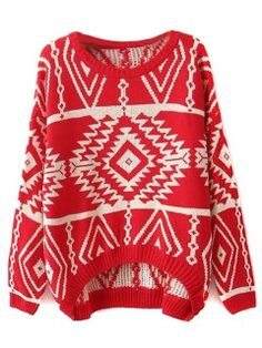 Shop Red Vintage Pop Pattern Jumper with Dipped Hem from choies.com .Free shipping Worldwide.$27.99