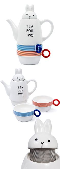 Tea for two // Rabbit teapot set - cute! #product_design