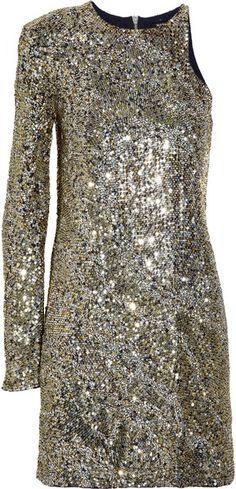 Balmain Embellished Onesleeve Silk Dress in Gold