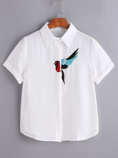 SheIn offers Bird Embroidered Hidden Button Placket Blouse & more to fit your fashionable needs. Shop the latest arrivals at SheIn, always stay ahead of the fashion trends. Hundreds of new looks updated every day!Shop [good_name] at ROMWE, discover Embroidery On Clothes, Shirt Embroidery, Embroidered Clothes, Embroidery Fashion, Sewing Clothes, Diy Clothes, Dress Sewing, Sewing Dresses For Women, Shirt Diy