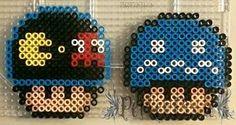 Arcade Pac-Man and Blue Ghost Mushrooms by PerlerPixie