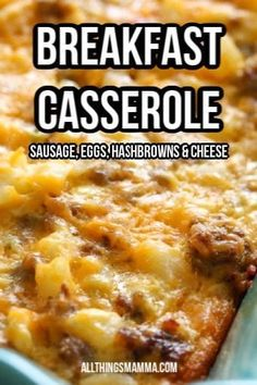 Easy Breakfast Casserole - Combine eggs with sausage, frozen hashbrown potatoes, and cheese for the ultimate easy breakfast or brunch casserole! Sausage Hashbrown Breakfast Casserole, Overnight Breakfast Casserole, Brunch Casserole, Egg Bake With Hashbrowns, Easy Egg Casserole, Breakfast Casserole With Biscuits, Easy Breakfast Casserole Recipes, Recipes With Breakfast Sausage, Breakfast Ideas With Eggs