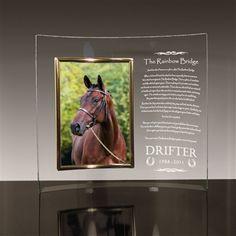 memorial boxes for your horse | Rainbow Bridge Poem Glass Memorial Frame