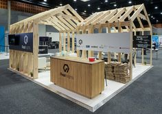 Natural timber used to great effect in this custom stand designed by exponet