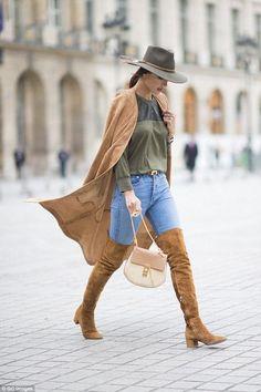 Alessandra Ambrosio wearing Hermes Brown Belt, Audemars Piguet Royal Oak Quartz Watch, Chloe Drew Bag in Caramel, Gianvito Rossi Rolling Over the Knee Boots and Balmain Suede Coat