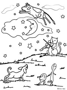 Diddle coloring pages ~ 48 Best NR-Hey diddle diddle images | Nursery rhyme crafts ...