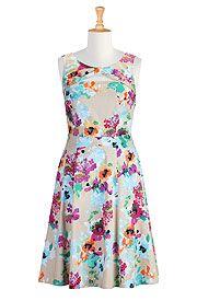 Floral cutout sateen print dress