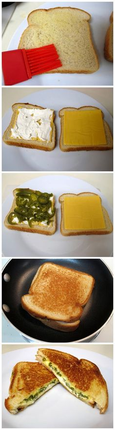 For billy!!! Jalapeno Popper Grilled Cheese Sandwiches. Why have I never thought of this! (466)