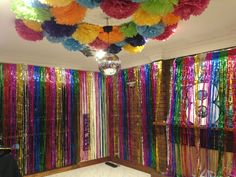 Disco dance kids birthday Party Decorations Disco Ball feature Tinsel Curtain Wall Just add the kids! Dance Party Kids, Dance Party Birthday, 8th Birthday, Kids Disco Party, Dance Party Decorations, Paper Lanterns Party, Room Decorations, Disco Theme, Candy Bar Party