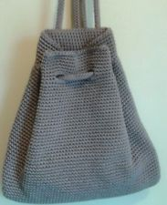 over the shoulder drawstring crochet purse | ... Brown Crochet Handbag Shoulder Bag Drawstring Back Pack Purse - EUC