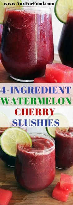 Refreshing, thirst-quenching watermelon cherry slushie is an easy, delicious drink that is wonderful on a hot day! Perfect for the whole family! | Non-alcoholic drinks | slushy | vegetarian | gluten-f (Raw Ingredients Paleo)