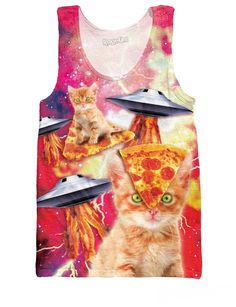 Bacon Pizza Space Cats Tank Top
