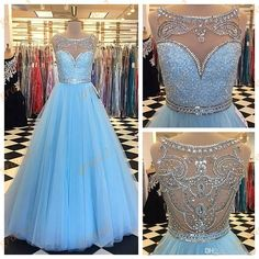 Bling Bling Prom Dresses 2k17 Spring with Beaded Crew Neck And Major Beading Back Real Pictures Crystals Tulle Light Sky Blue Prom Gowns 2k17 Prom Dresses 2017 Prom Dresses Strapless Prom Dresses Online with $169.15/Piece on Grace2's Store | DHgate.com
