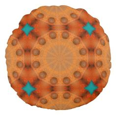 Rust-Mandala ROSTart 744 Round Pillow - home gifts ideas decor special unique custom individual customized individualized