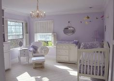 i love the lavender wall color for a future girls nursery... of course paired w/white and brown