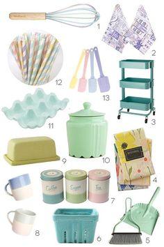 Pastel Kitchen Finds:We'd love these in our dream kitchen! Kitchen Supplies, Kitchen Items, Kitchen Utensils, Baking Utensils, Kitchen Stuff, Home Design, Design Design, Pastel Kitchen Decor, Retro Kitchen Decor