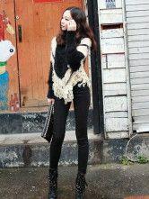 Noir Pullover pull à encolure dégagée frange bicolore fausse fourrure femmes