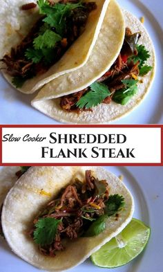 Shredded beef for tacos. Spiced flank steak cooked in  your slow cooker / crock pot. Easy weeknight meal that makes great leftovers.