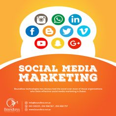 Social Media Marketing...!  Boundless Technologies has always had the excel over most of those #organizations who claim effective #socialmedia #marketing in Dubai due to the proven results of marketing on #socialmedia and showed full expertise in #Facebookmarketing, Pinterest promotions, Tumblr blogging, maintaining linked-in portfolio and other social media #services for #Dubai based #clients..  Contact Us! 971 564067797, 971-043350229. Do visit for more information: https://goo.gl/CqoTHN