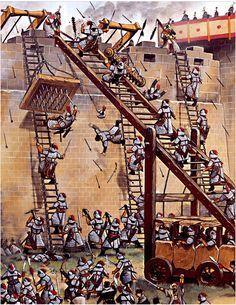 Asedio de Xiangyan (1.268-73) escaleras de asalto mongolas y artefactos chinos de contraasalto autor Wayne Reynolds para