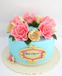 turquoise Vintage Birthday Cake