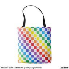 Rainbow Tiles and Smiles Tote Bag