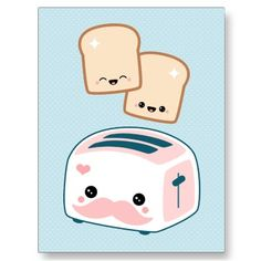 Cute Mustache Toaster Post Cards from Zazzle.com