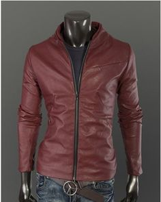 $37.18 - Mens Black Leather Jacket Fashion Casual Solid Long ...