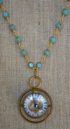 Vintage Style Brass Globe Watch on Picasso Bead Rosary Chain Necklace