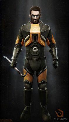 Gordon Freeman in HEV suit, Šimon Lánský Half Life Game, Gordon Freeman, Life Drawing, Video Game, Sci Fi, Art Pics, Sketching, Omega, Character Art