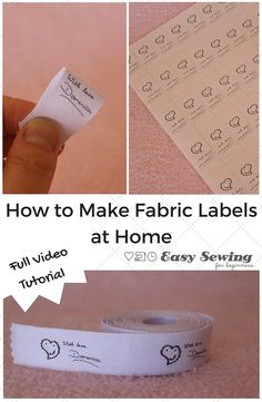 Here is a step by step video tutorial for how to make fabric labels at home, by Domenica Tootell at Easy Sewing For Beginners. Domenica also includes a step by step photo tutorial along with a downloa Sewing Hacks, Sewing Tutorials, Sewing Crafts, Sewing Tips, Sewing Ideas, Sewing Basics, Quilt Labels, Fabric Labels, Fabric Tags