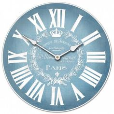 5157896ee8c Blue Linen with white. Large wall clocks. Home Decor. Many Sizes Available.