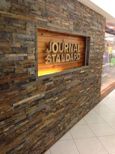 Like the inset lighting and dimensional lights against the wood. Shop Signage, Signage Design, Retail Signage, Gate Design, House Design, Name Plate Design, Name Board Design, Name Plates For Home, Boundary Walls