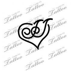 Intertwined letter J's Custom Tattoo | Intertwined J's within a heart #9451 | CreateMyTattoo.com