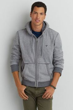 AEO Zip Up Vintage Hoodie, Men's, Size: XL, Light Heather Grey