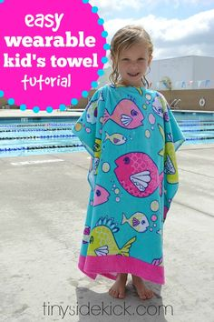 Take a regular beach towel and turn it into a wearable beach towel for kids in less than 15 minutes.